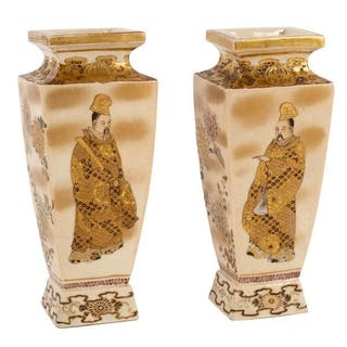 A pair of Japanese square tapering section bottle vases, painted with