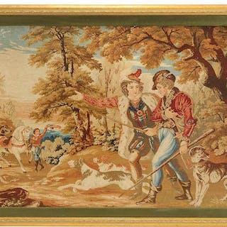 Framed Wool Needlepoint of Hunt Scene