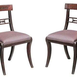 Pair Regency Brass Inlaid Mahogany Side Chairs
