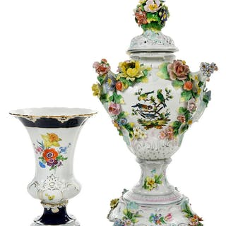 Two Floral Decorated Porcelain Vases