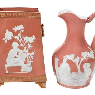 Two Pieces Pate-Sur-Pate Porcelain