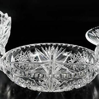 Two Cut Glass Bowls and a Divided Nappy