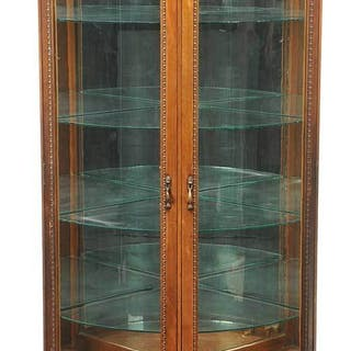 RJ Horner Carved Mahogany Curved Glass Vitrine
