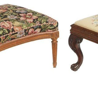 Two Carved Mahogany Upholstered Ottomans
