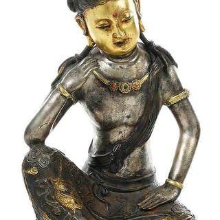 Gilt and Silvered Bronze Seated Quanyin