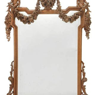 Italian Neoclassical Style Carved Walnut Mirror