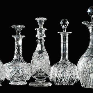 Five Cut Glass Decanters, J. Hoare, Libbey