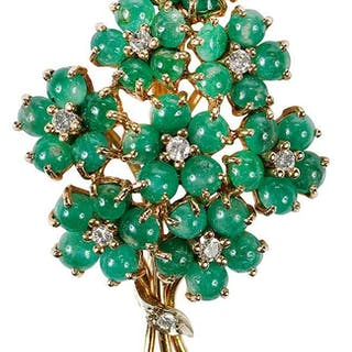 14kt. Emerald & Diamond Brooch