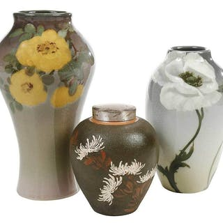 Walter Moorcroft ,two frilled orchid vases – Current sales