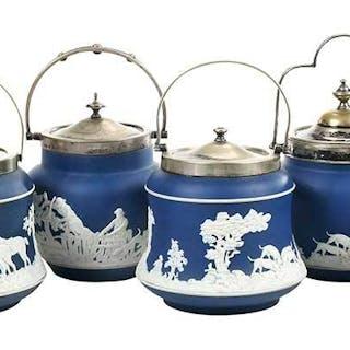 Six Adams Jasperware Biscuit Jars