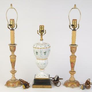 Pair Fancy Painted Candelabra, Ginori Lamp