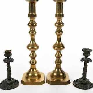 Two Pairs Candelabra, Bronze, Brass