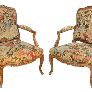 Pair Louis XV Style Needlework Fauteuils
