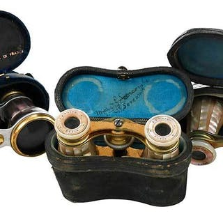 Three Pairs Mother-of-Pearl Opera Glasses