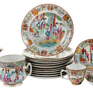 17 Chinese Export Famille Rose Objects