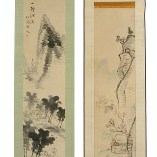 Two Japanese Landscape Scrolls