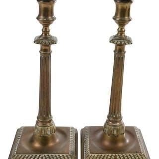 Pair Chippendale Columnar Candlesticks
