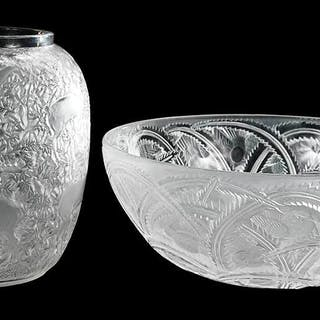 Lalique Pinsons Bowl and Biches Vase