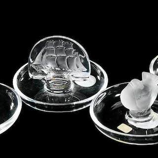 Four Lalique Glass Ashtrays