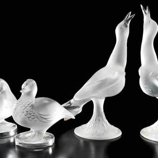 Four Lalique Frosted Glass Bird Figures