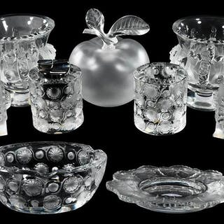 Nine Lalique Glass Table Ornaments