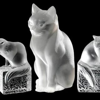 Five Lalique Glass Cat Figures