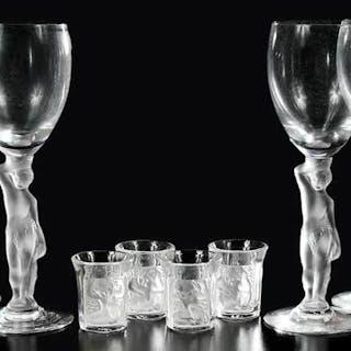 Four Lalique Enfants Glasses, Six Wine Glasses