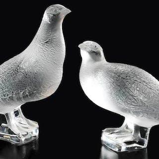 Two Trois Perdrix Lalique Birds