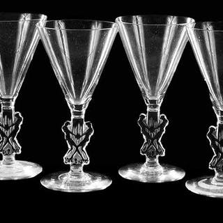 Six R. Lalique Strasbourg Small Glass Stems