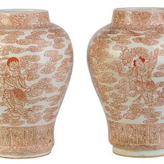 Near Pair Chinese Vases with Enameled Decoration