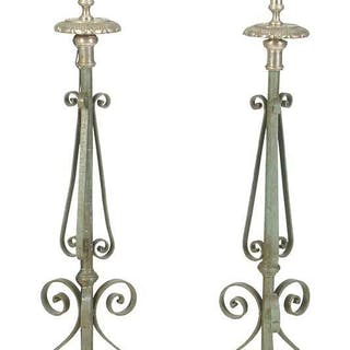 Pair Paint Decorated Wrought Iron Floor Lamps