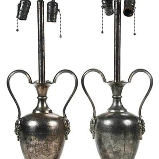 Pair Silver Urn Form Lamps