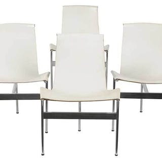 Set Six Laverne White Leather T Chairs