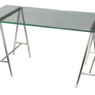 Aluminum Glass Top Sawhorse Desk