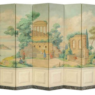 Classical Paint Decorated Eight Panel Screen