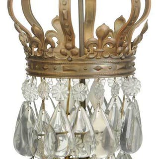Venetian Style Bronze and Crystal Hall Lantern