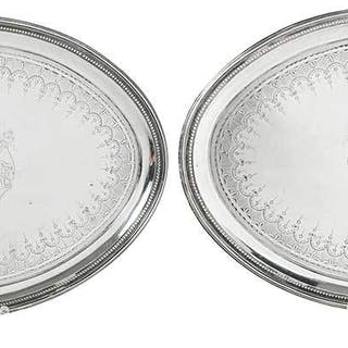Pair of English Silver Trays
