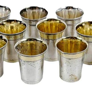 Set of 12 Continental Silver Vodka Cups