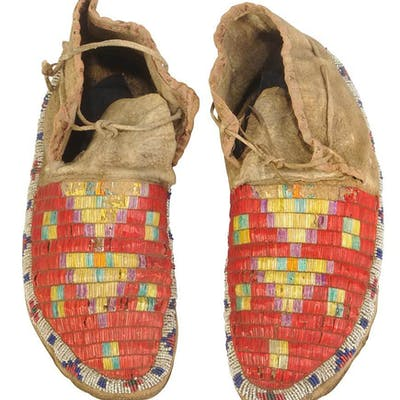 Quilled Beaded Hide Men's Moccasins