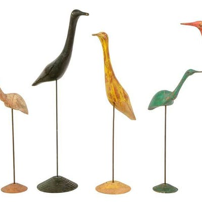 Six Vintage Carved and Painted Shore Birds