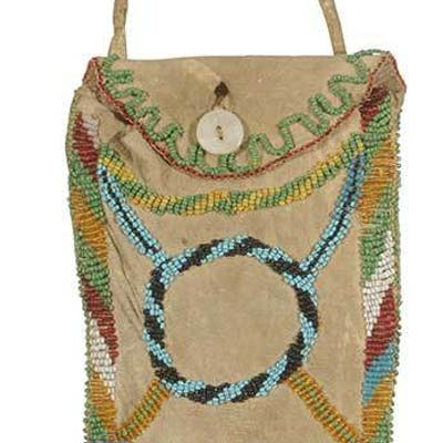 Beaded Hide Flap Bag