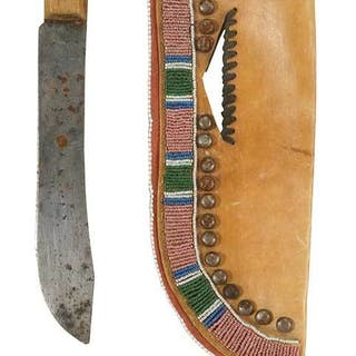 Large Crow Beaded Hide Knife Sheath