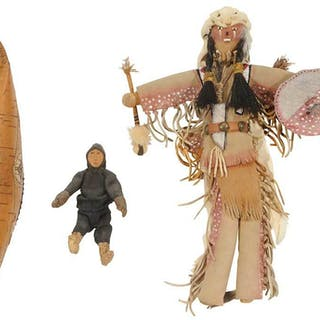 Cherokee Doll with Model Canoe and Small Figure