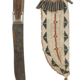 Sioux beaded hide knife sheath