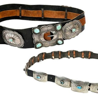 Two Silver and Turquoise Concho Belts