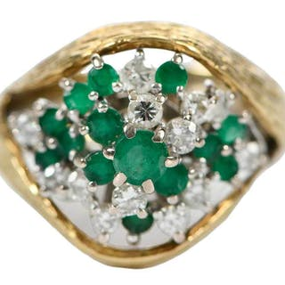18kt. Emerald and Diamond Ring and Guard