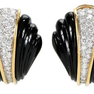 18kt. Diamond and Onyx Earrings