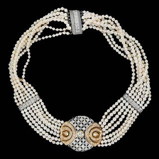 Gold, Diamond and Pearl Choker Necklace