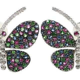 18kt. Diamond and Gemstone Butterfly Earclips