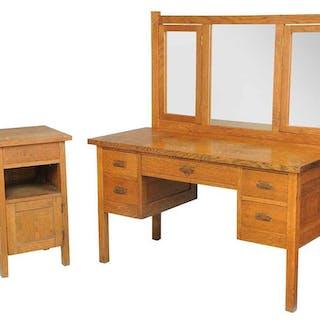 Roycroft Arts and Crafts Dresser, Bedside Table